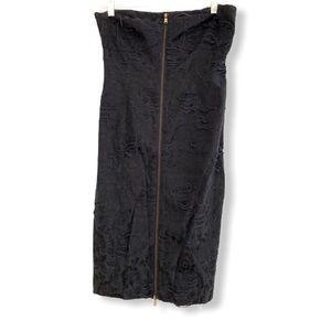 RACHEL ROY distressed strapless zip dress